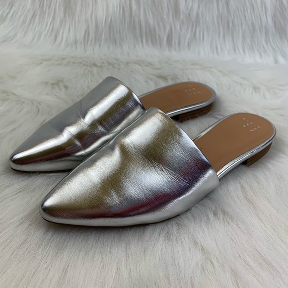 51d049e1db4 a new day Shoes - A New Day Silver Metallic Slide Mule Flats 7.5